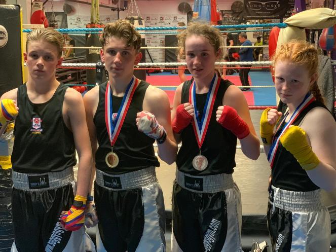 Back in the gym - Midlands Vest winner Alfie Briggs-Price (left) joins Sam, Chloe and Lauren